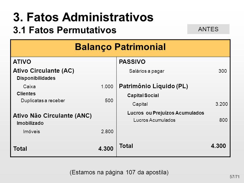 Balanço Patrimonial ATIVO Ativo Circulante (AC) Disponibilidades Caixa 1.000 Clientes Duplicatas a receber 500 Ativo Não Circulante (ANC) Imobilizado