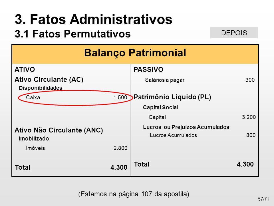 Balanço Patrimonial ATIVO Ativo Circulante (AC) Disponibilidades Caixa 1.500 Ativo Não Circulante (ANC) Imobilizado Imóveis 2.800 Total 4.300 PASSIVO