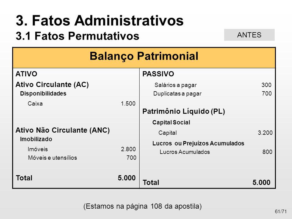 Balanço Patrimonial ATIVO Ativo Circulante (AC) Disponibilidades Caixa 1.500 Ativo Não Circulante (ANC) Imobilizado Imóveis 2.800 Móveis e utensílios