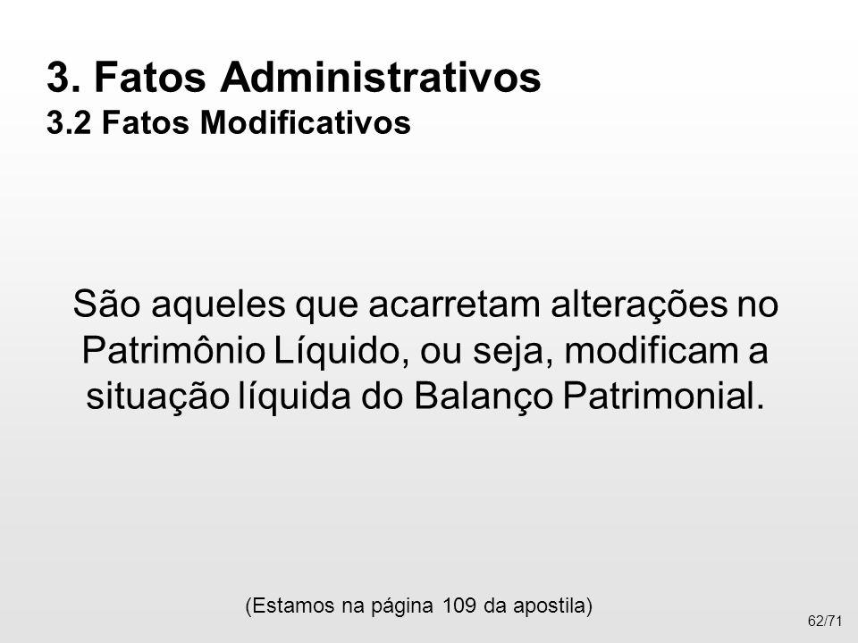 3. Fatos Administrativos 3.2 Fatos Modificativos São aqueles que acarretam alterações no Patrimônio Líquido, ou seja, modificam a situação líquida do