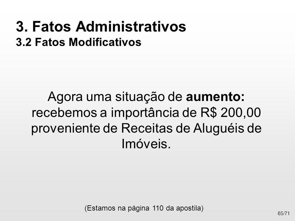 3. Fatos Administrativos 3.2 Fatos Modificativos Agora uma situação de aumento: recebemos a importância de R$ 200,00 proveniente de Receitas de Alugué