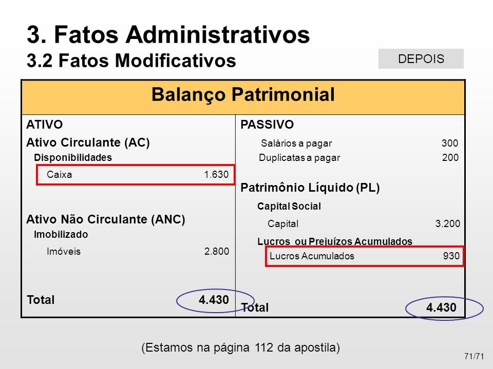 Balanço Patrimonial ATIVO Ativo Circulante (AC) Disponibilidades Caixa 1.630 Ativo Não Circulante (ANC) Imobilizado Imóveis 2.800 Total 4.430 PASSIVO