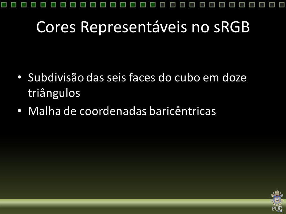Cores Representáveis no sRGB Subdivisão das seis faces do cubo em doze triângulos Malha de coordenadas baricêntricas