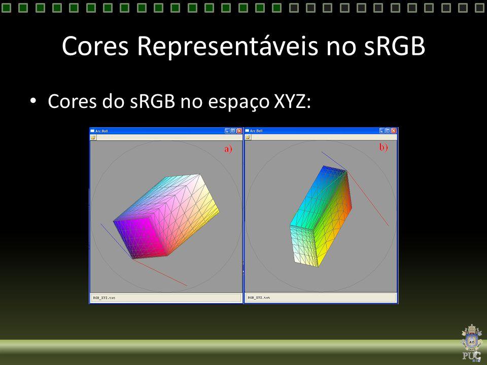 Cores Representáveis no sRGB Cores do sRGB no espaço XYZ: