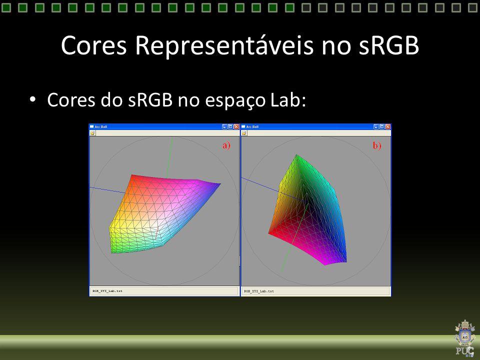 Cores Representáveis no sRGB Cores do sRGB no espaço Lab: