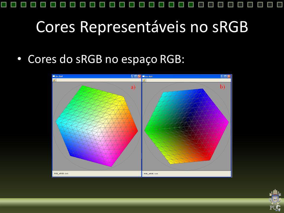 Cores Representáveis no sRGB Cores do sRGB no espaço RGB: