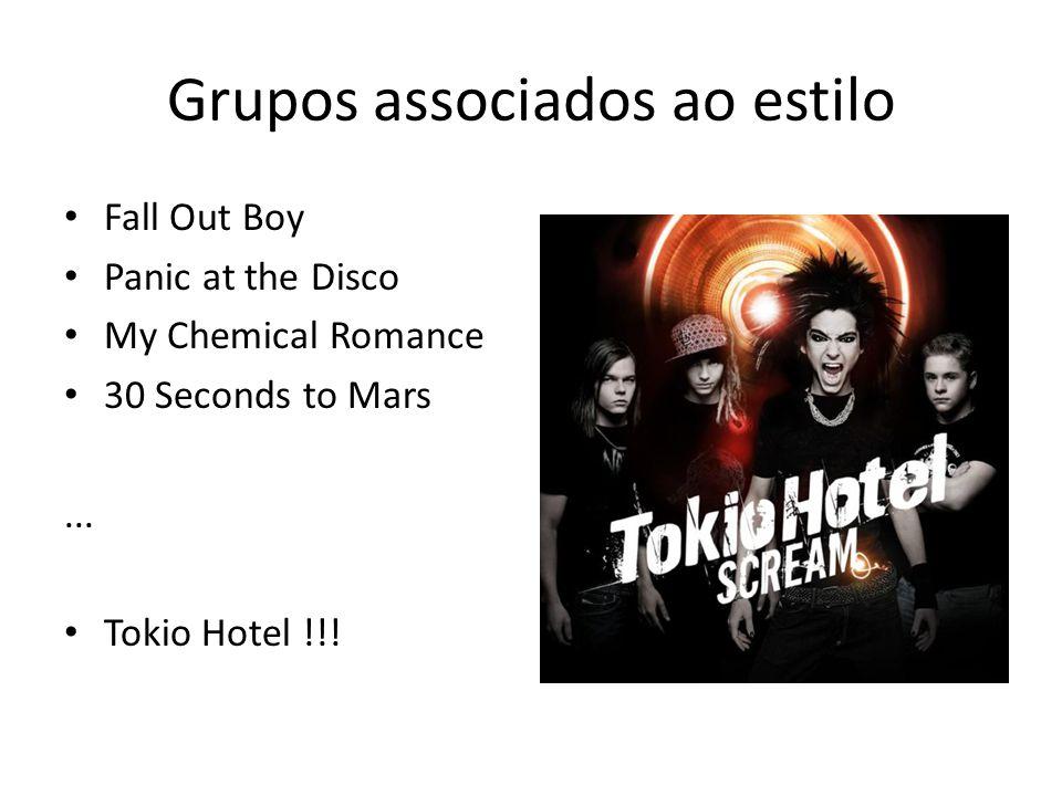 Grupos associados ao estilo Fall Out Boy Panic at the Disco My Chemical Romance 30 Seconds to Mars...