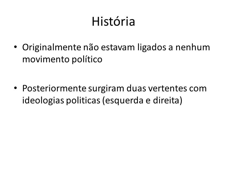 História Originalmente não estavam ligados a nenhum movimento político Posteriormente surgiram duas vertentes com ideologias politicas (esquerda e direita)