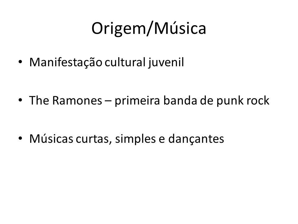 Origem/Música Manifestação cultural juvenil The Ramones – primeira banda de punk rock Músicas curtas, simples e dançantes