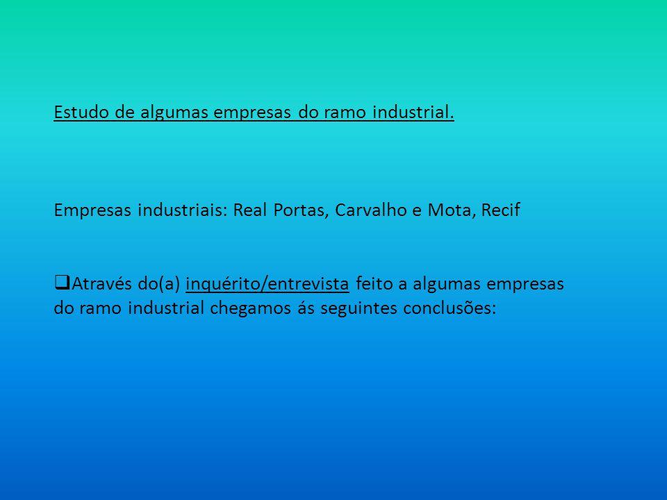 Estudo de algumas empresas do ramo industrial. Empresas industriais: Real Portas, Carvalho e Mota, Recif Através do(a) inquérito/entrevista feito a al