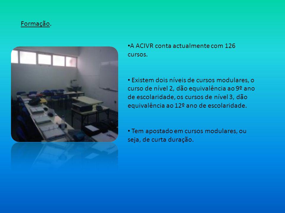 Formação. A ACIVR conta actualmente com 126 cursos. Existem dois níveis de cursos modulares, o curso de nível 2, dão equivalência ao 9º ano de escolar