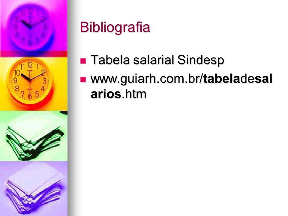 Bibliografia Tabela salarial Sindesp Tabela salarial Sindesp www.guiarh.com.br/tabeladesal arios.htm www.guiarh.com.br/tabeladesal arios.htm