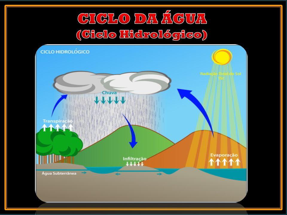 1.Precipitação (chuva) 2.Escoamento 3.Infiltração 4.Evaporação 5.Condensação 6.