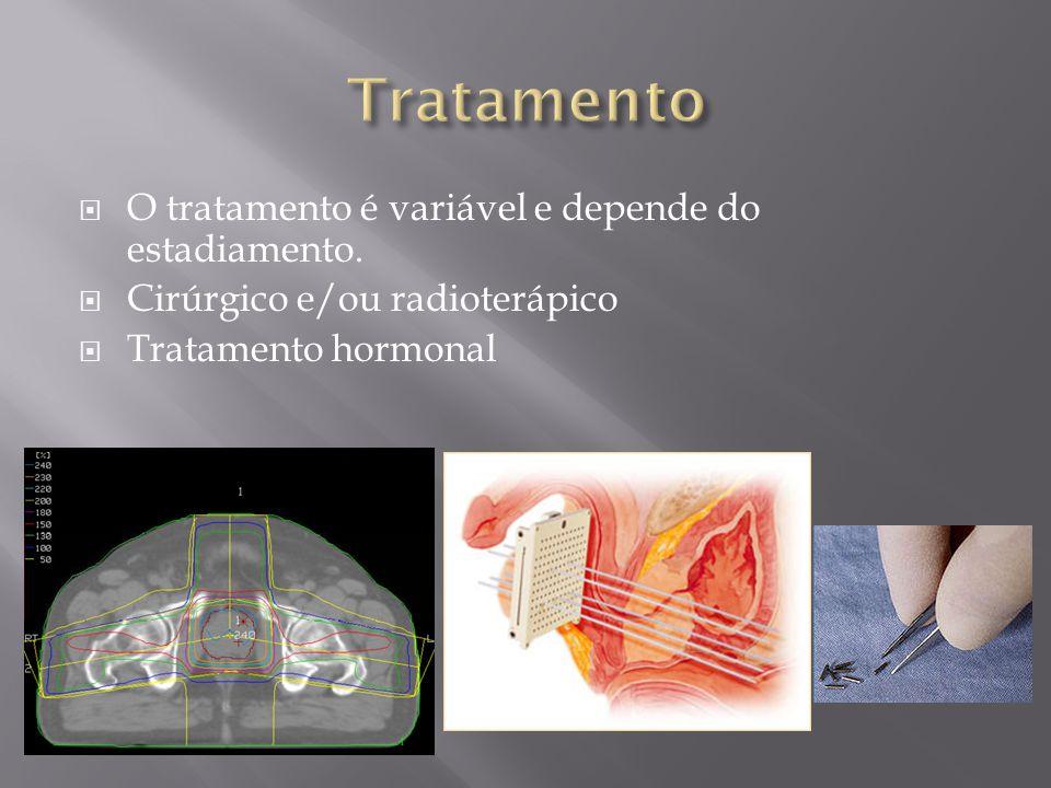 O tratamento é variável e depende do estadiamento. Cirúrgico e/ou radioterápico Tratamento hormonal