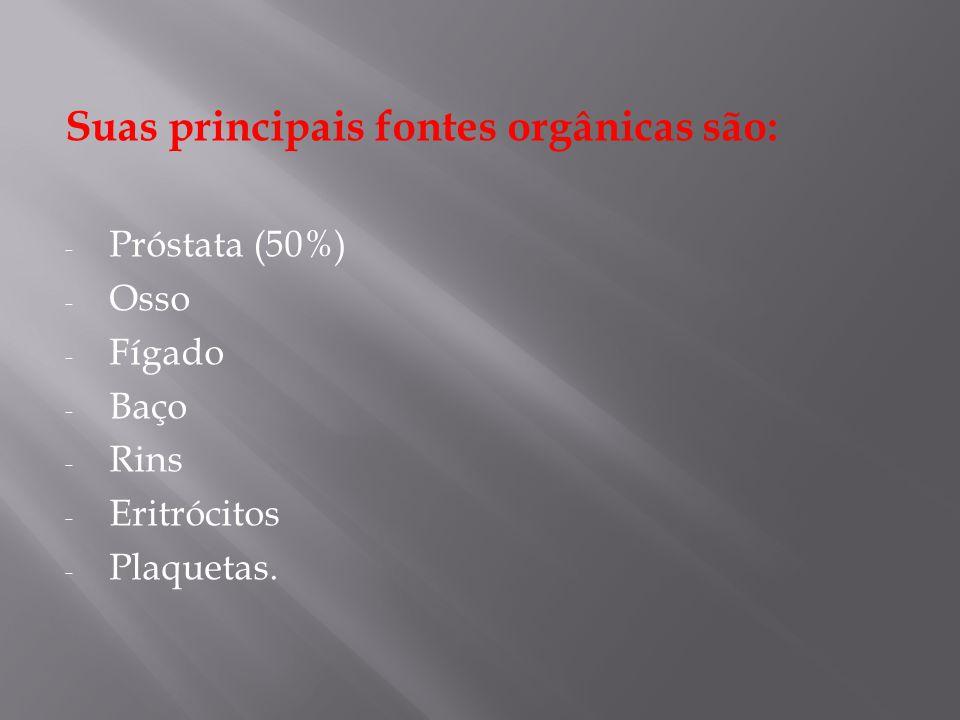 Suas principais fontes orgânicas são: - Próstata (50%) - Osso - Fígado - Baço - Rins - Eritrócitos - Plaquetas.