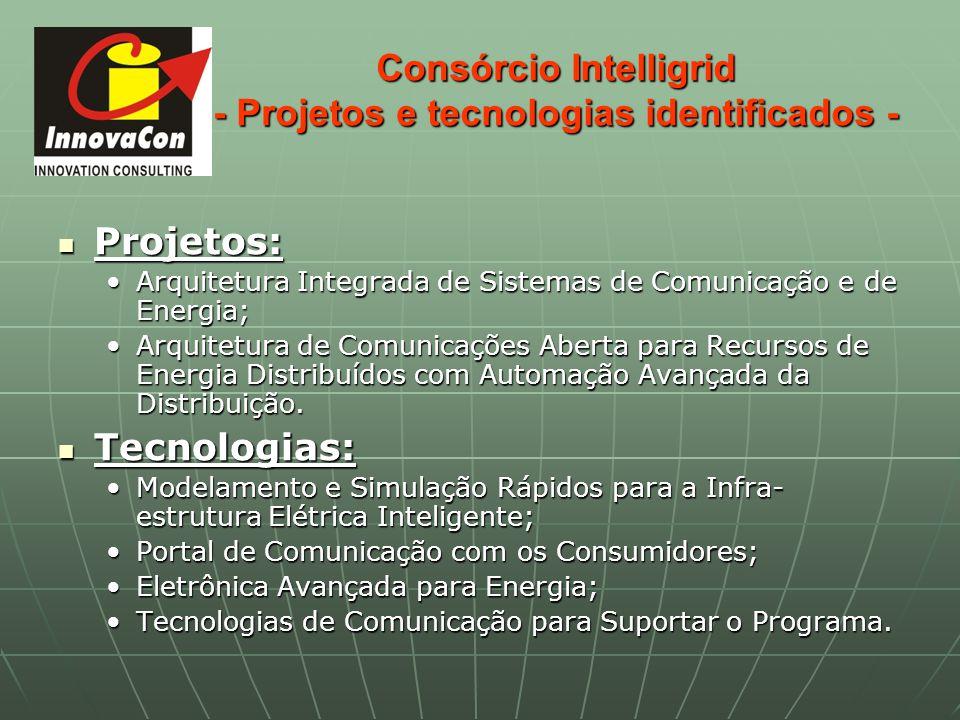 Consórcio Intelligrid - Projetos e tecnologias identificados - Projetos: Projetos: Arquitetura Integrada de Sistemas de Comunicação e de Energia;Arqui