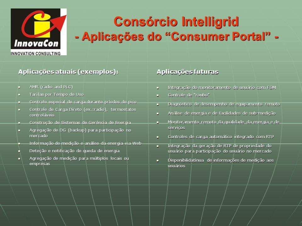 Consórcio Intelligrid - Aplicações do Consumer Portal - Aplicações atuais (exemplos): AMR (radio and PLC) AMR (radio and PLC) Tarifas por Tempo de Uso