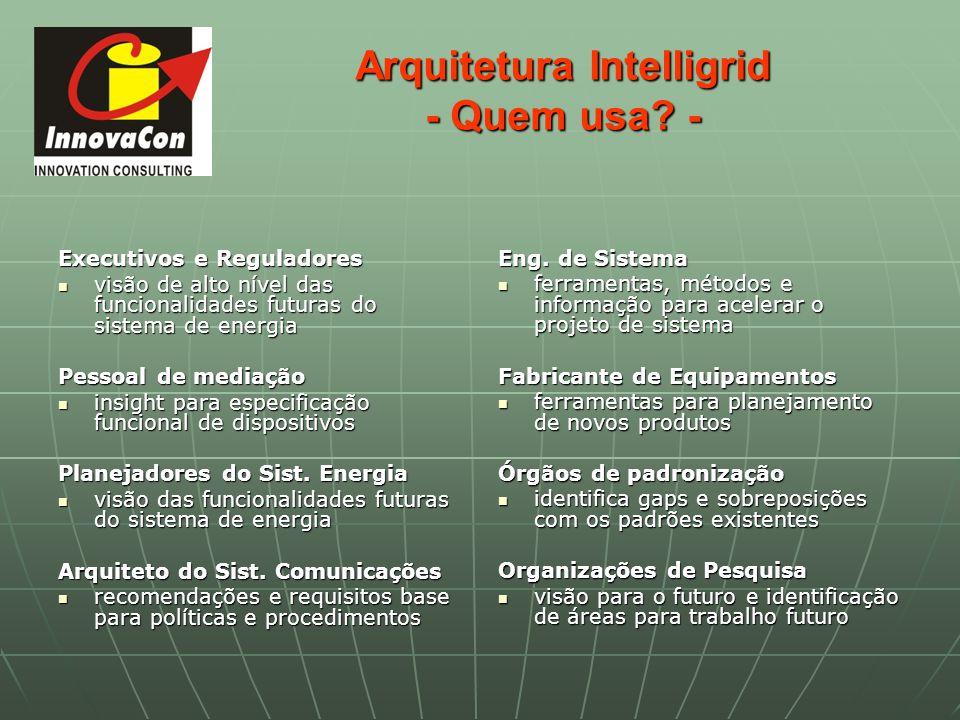 Arquitetura Intelligrid - Quem usa? - Executivos e Reguladores visão de alto nível das funcionalidades futuras do sistema de energia visão de alto nív