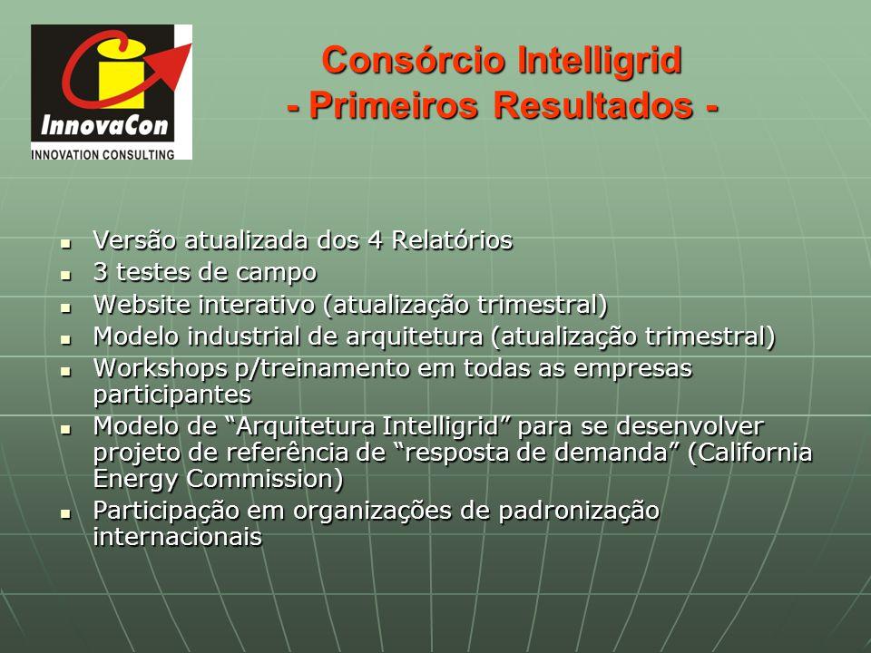 Consórcio Intelligrid - Primeiros Resultados - Versão atualizada dos 4 Relatórios Versão atualizada dos 4 Relatórios 3 testes de campo 3 testes de cam