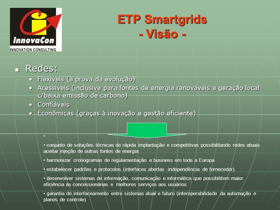 ETP Smartgrids - Visão - Redes: Redes: Flexíveis (à prova da evolução)Flexíveis (à prova da evolução) Acessíveis (inclusive para fontes de energia ren