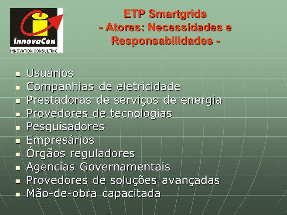 ETP Smartgrids - Atores: Necessidades e Responsabilidades - Usuários Usuários Companhias de eletricidade Companhias de eletricidade Prestadoras de ser