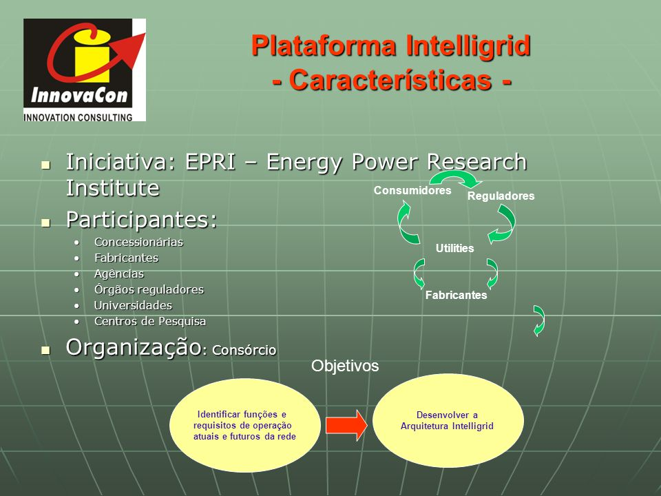 Plataforma Intelligrid - Características - Iniciativa: EPRI – Energy Power Research Institute Iniciativa: EPRI – Energy Power Research Institute Parti