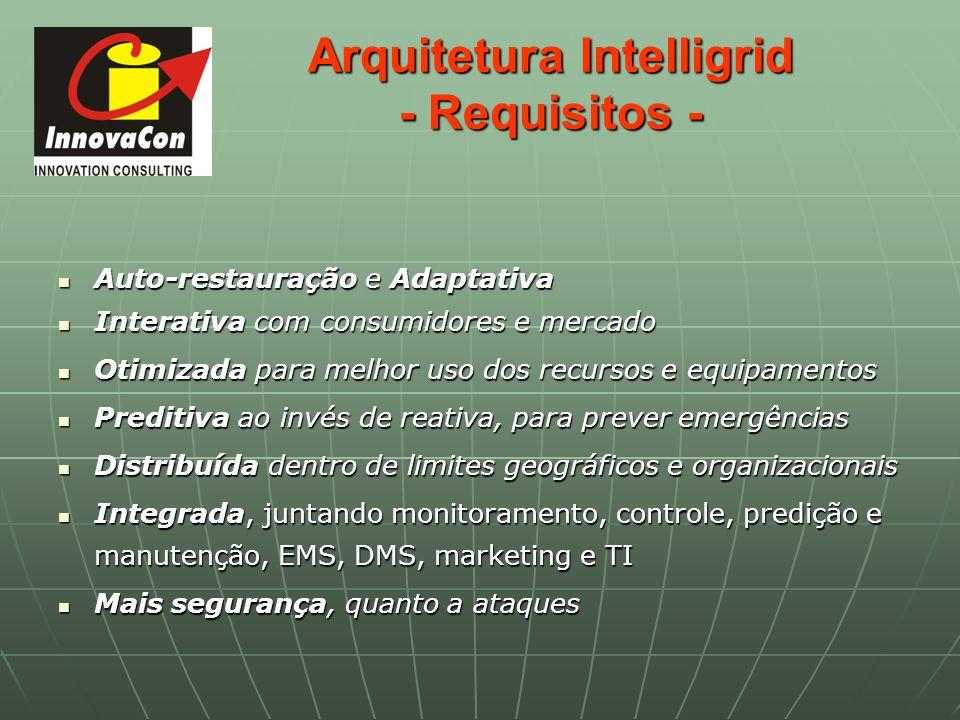 Arquitetura Intelligrid - Requisitos - Auto-restauração e Adaptativa Auto-restauração e Adaptativa Interativa com consumidores e mercado Interativa co