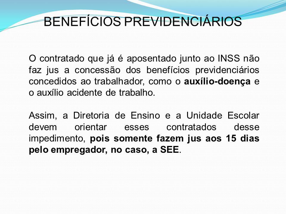 BENEFÍCIOS PREVIDENCIÁRIOS O contratado que já é aposentado junto ao INSS não faz jus a concessão dos benefícios previdenciários concedidos ao trabalh