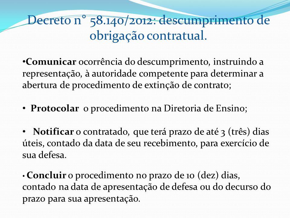 Decreto n° 58.140/2012: descumprimento de obrigação contratual. Comunicar ocorrência do descumprimento, instruindo a representação, à autoridade compe