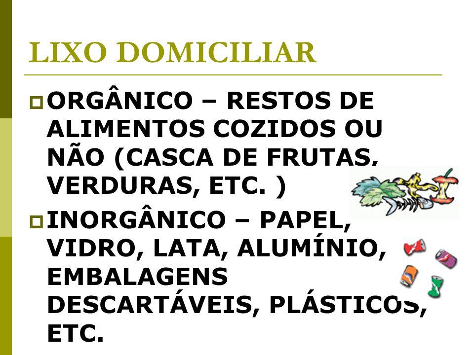 LIXO DOMICILIAR ORGÂNICO – RESTOS DE ALIMENTOS COZIDOS OU NÃO (CASCA DE FRUTAS, VERDURAS, ETC.