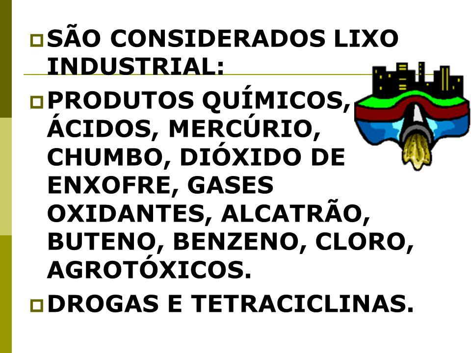 SÃO CONSIDERADOS LIXO INDUSTRIAL: PRODUTOS QUÍMICOS, ÁCIDOS, MERCÚRIO, CHUMBO, DIÓXIDO DE ENXOFRE, GASES OXIDANTES, ALCATRÃO, BUTENO, BENZENO, CLORO, AGROTÓXICOS.