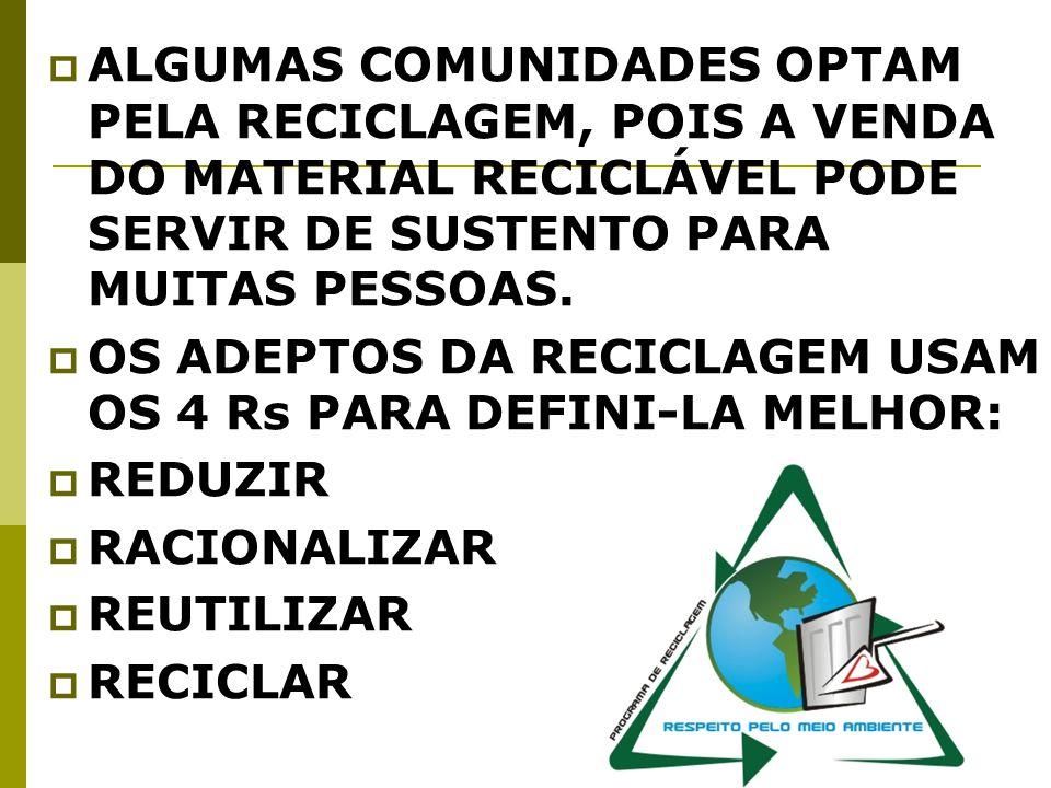 ALGUMAS COMUNIDADES OPTAM PELA RECICLAGEM, POIS A VENDA DO MATERIAL RECICLÁVEL PODE SERVIR DE SUSTENTO PARA MUITAS PESSOAS.