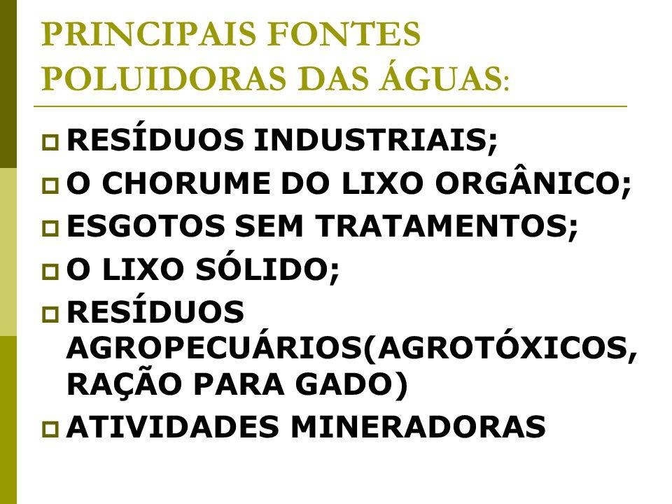 PRINCIPAIS FONTES POLUIDORAS DAS ÁGUAS: RESÍDUOS INDUSTRIAIS; O CHORUME DO LIXO ORGÂNICO; ESGOTOS SEM TRATAMENTOS; O LIXO SÓLIDO; RESÍDUOS AGROPECUÁRIOS(AGROTÓXICOS, RAÇÃO PARA GADO) ATIVIDADES MINERADORAS