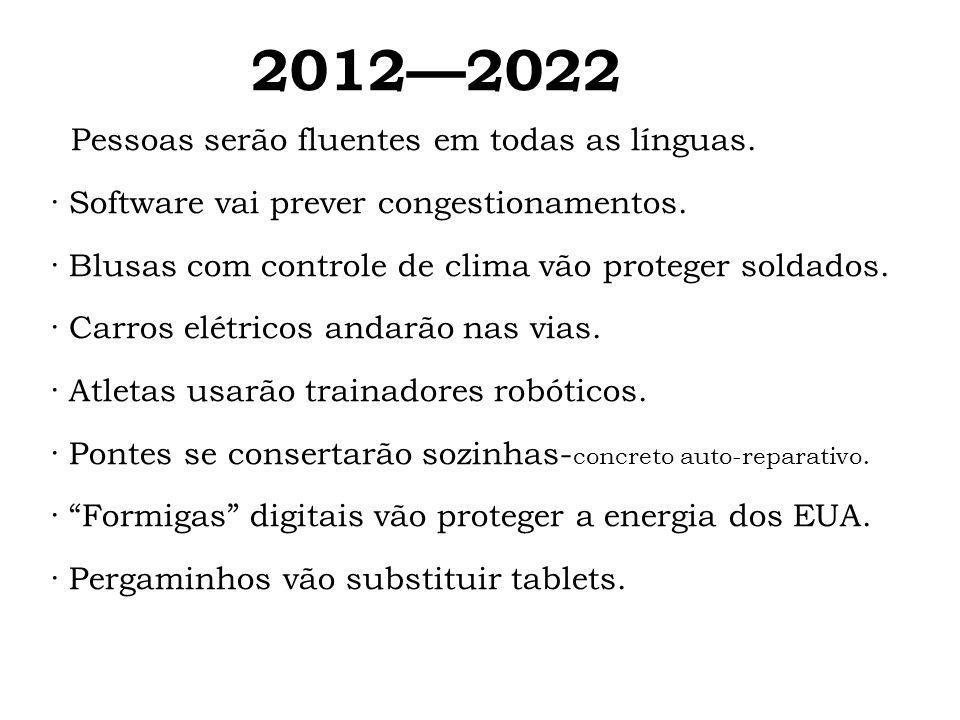 20122022 Pessoas serão fluentes em todas as línguas. · Software vai prever congestionamentos. · Blusas com controle de clima vão proteger soldados. ·
