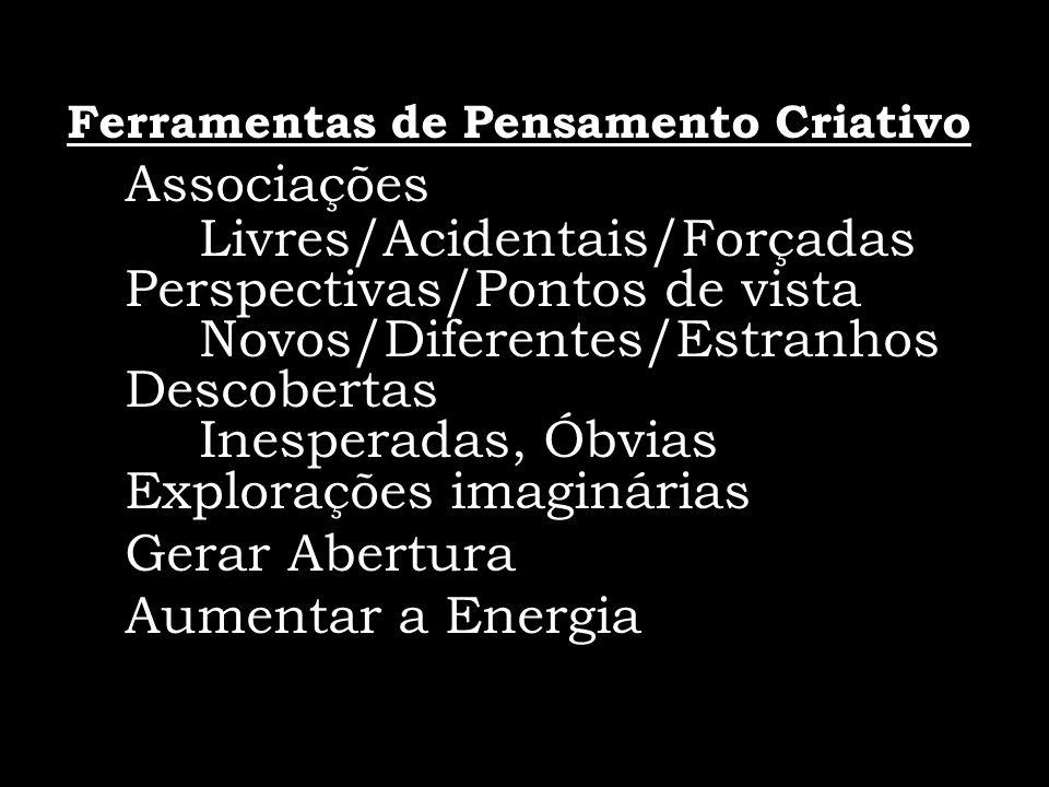 Ferramentas de Pensamento Criativo Associações Livres/Acidentais/Forçadas Perspectivas/Pontos de vista Novos/Diferentes/Estranhos Descobertas Inespera