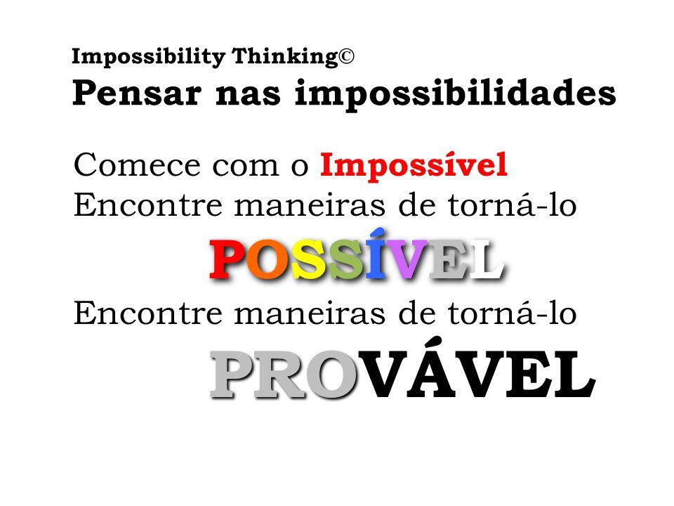 Impossibility Thinking© Pensar nas impossibilidades Comece com o Impossível Encontre maneiras de torná-lo POSSÍVEL POSSÍVEL Encontre maneiras de torná