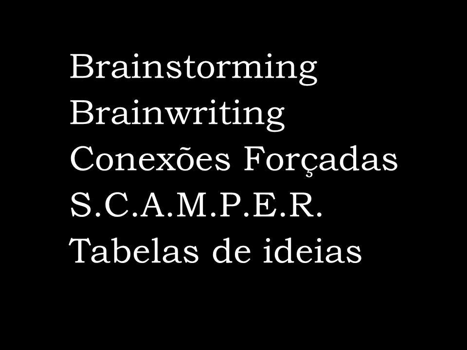 Brainstorming Brainwriting Conexões Forçadas S.C.A.M.P.E.R. Tabelas de ideias