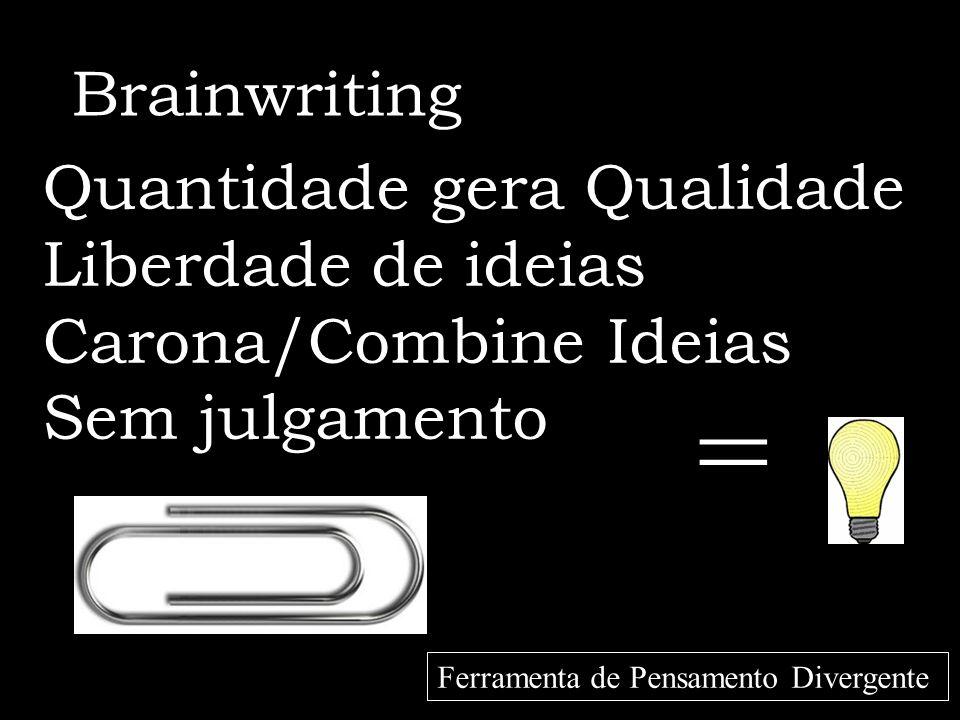 = Brainwriting Quantidade gera Qualidade Liberdade de ideias Carona/Combine Ideias Sem julgamento Ferramenta de Pensamento Divergente