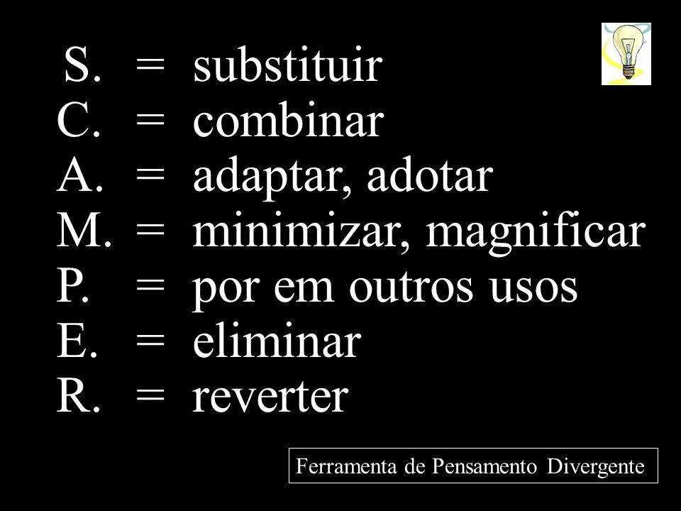 S. = substituir C. = combinar A. = adaptar, adotar M. = minimizar, magnificar P. = por em outros usos E. = eliminar R. = reverter Ferramenta de Pensam