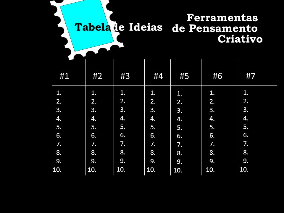 de Ideias Tabelade Ideias #1#2 #3#4#5#6#7 1. 2. 3. 4. 5. 6. 7. 8. 9. 10. 1. 2. 3. 4. 5. 6. 7. 8. 9. 10. 1. 2. 3. 4. 5. 6. 7. 8. 9. 10. 1. 2. 3. 4. 5.