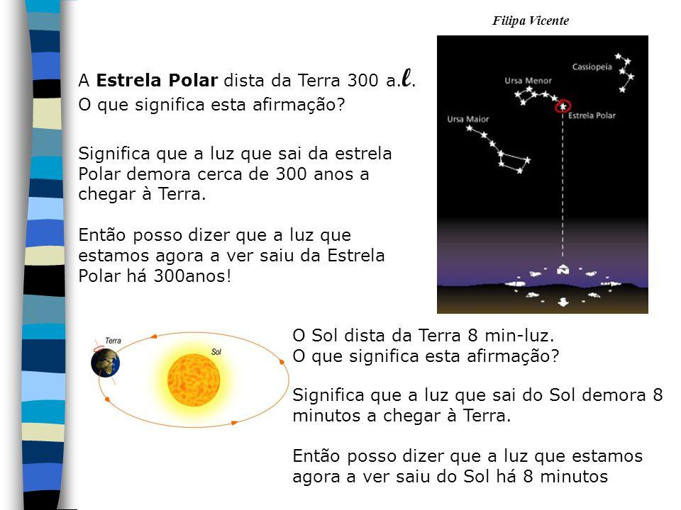 Filipa Vicente A Estrela Polar dista da Terra 300 a. l. O que significa esta afirmação? Significa que a luz que sai da estrela Polar demora cerca de 3