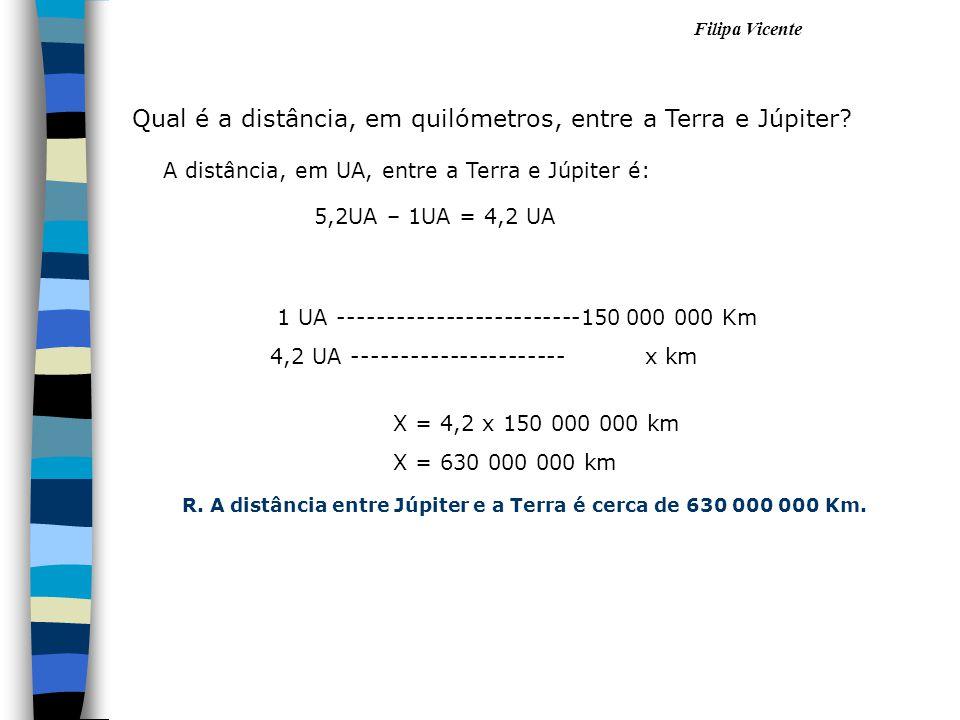 Filipa Vicente Qual é a distância, em quilómetros, entre a Terra e Júpiter? 1 UA -------------------------150 000 000 Km 4,2 UA ----------------------