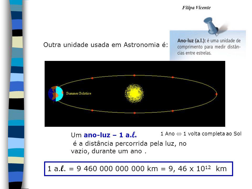 Filipa Vicente 1 Ano 1 volta completa ao Sol Um ano-luz – 1 a. l. é a distância percorrida pela luz, no vazio, durante um ano. 1 a. l. = 9 460 000 000
