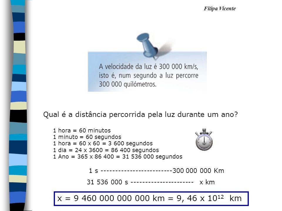 Filipa Vicente Qual é a distância percorrida pela luz durante um ano? 1 hora = 60 minutos 1 minuto = 60 segundos 1 hora = 60 x 60 = 3 600 segundos 1 d