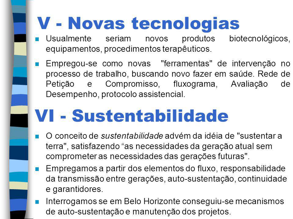V - Novas tecnologias n Usualmente seriam novos produtos biotecnológicos, equipamentos, procedimentos terapêuticos. n Empregou-se como novas