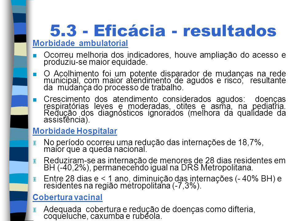 5.3 - Eficácia - resultados Morbidade ambulatorial n Ocorreu melhoria dos indicadores, houve ampliação do acesso e produziu-se maior equidade. n O Aco