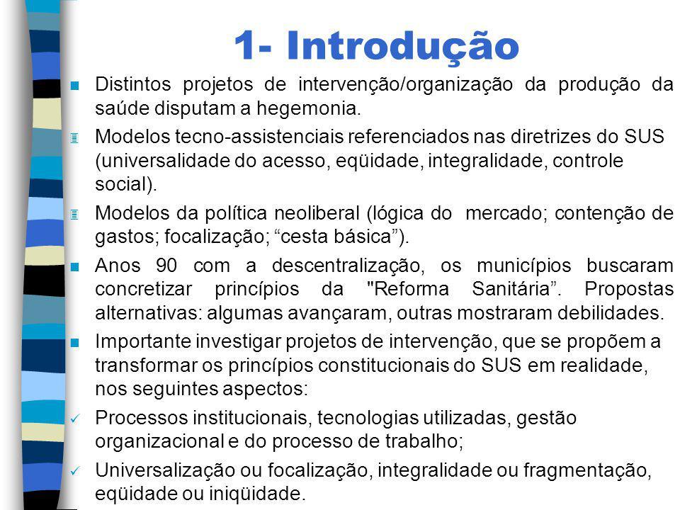 1- Introdução n Distintos projetos de intervenção/organização da produção da saúde disputam a hegemonia. 3 Modelos tecno-assistenciais referenciados n