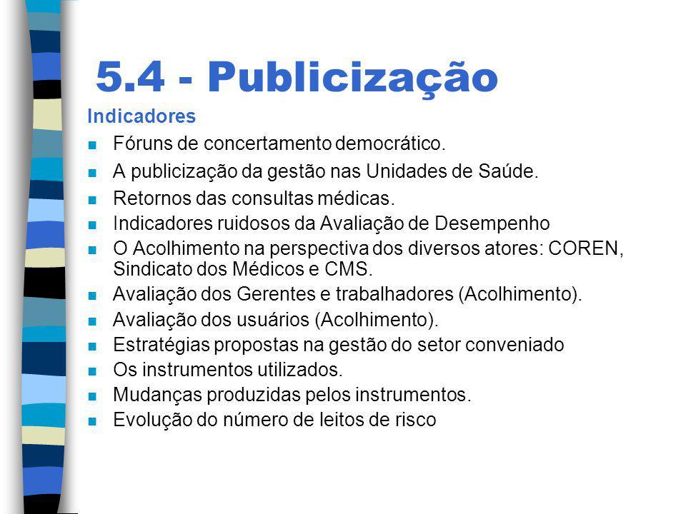 5.4 - Publicização Indicadores n Fóruns de concertamento democrático. n A publicização da gestão nas Unidades de Saúde. n Retornos das consultas médic