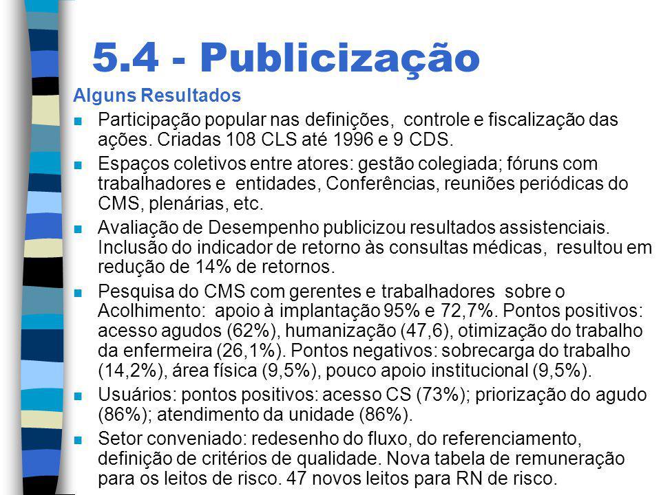 5.4 - Publicização Alguns Resultados n Participação popular nas definições, controle e fiscalização das ações. Criadas 108 CLS até 1996 e 9 CDS. n Esp