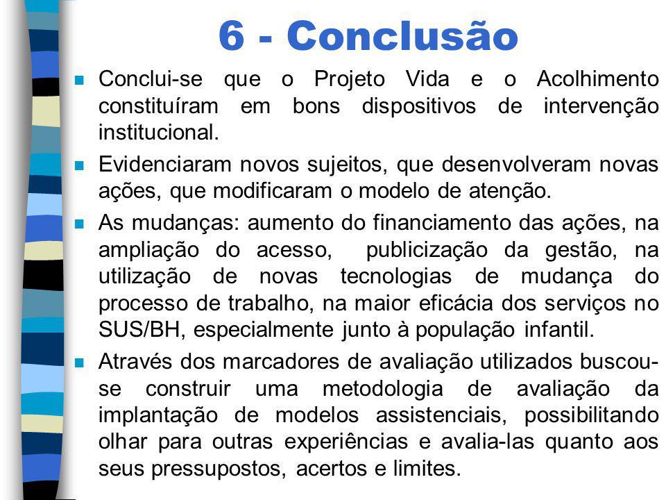 6 - Conclusão n Conclui-se que o Projeto Vida e o Acolhimento constituíram em bons dispositivos de intervenção institucional. n Evidenciaram novos suj